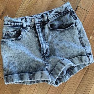 AA High Waist Acid Wash Shorts
